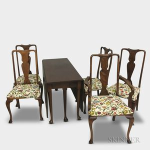 Queen Anne-style Mahogany Drop-leaf Dining Table and Five Chairs.