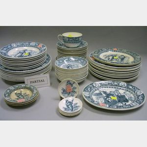 Eighty-one Pieces of Wedgwood Blue and White Ivanhoe Pattern Tableware