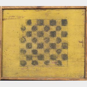 Black and Yellow Painted Wooden Checkerboard
