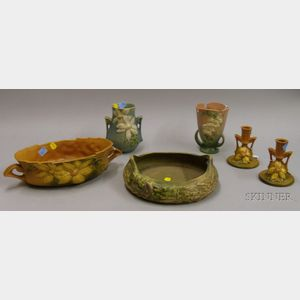 Five Pieces of Roseville Pottery and a Jardiniere