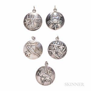 Five Margot de Taxco Sterling Silver Zodiac Charms