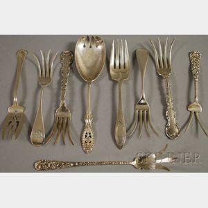 Nine Silver Serving Forks