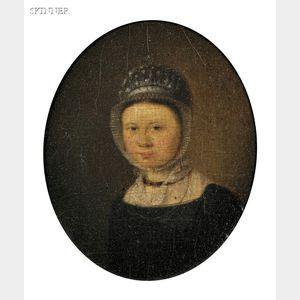 Dutch School, 18th Century      Portrait of a Young Woman in a White Bonnet