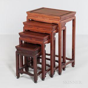 Set of Four Hardwood Nesting Tables