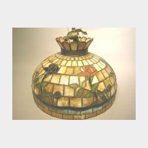 Rose Vine and Brickwork Pattern Leaded Slag Glass Hanging Shade.