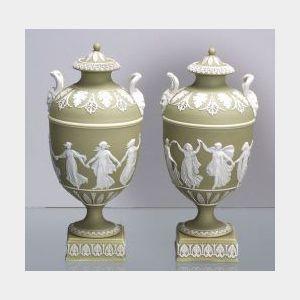 Pair of Wedgwood Green Jasper Dip Vases and Covers