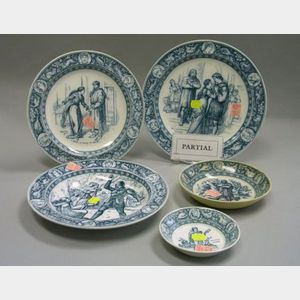 129 Pieces of Wedgwood Blue and White Ivanhoe Pattern Tableware
