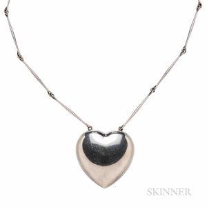 Astrid Fog for Georg Jensen Sterling Silver Heart Pendant Necklace