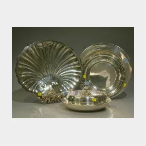 Four Silver Plated and Sterling Trays and Serving Pieces