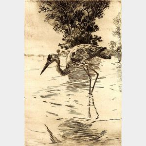 Frank Weston Benson (American, 1862-1951)    Blue Heron