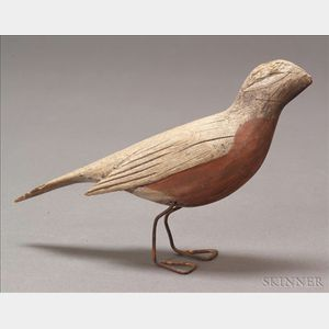 Carved and Painted Wooden Robin Figure