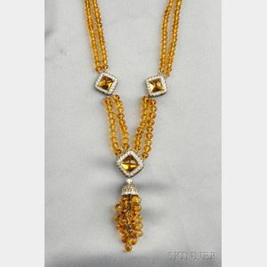 18kt White Gold and Citrine Necklace