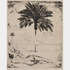 Joseph Hecht (Polish/British, 1891-1951)      Reclining Nude and Two Palms
