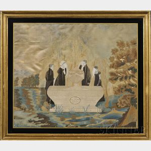 Silk Needlework Memorial Picture to Maria Juliet Allen