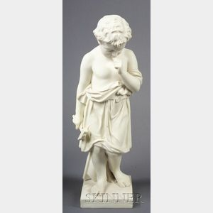 Staffordshire Parian Figure of The Little Boat Builder