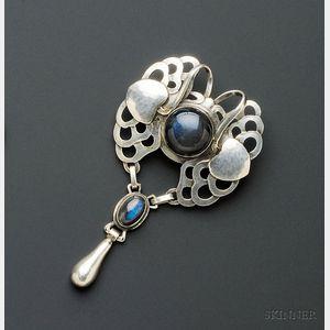 Silver and Labradorite Pendant/Brooch, Georg Jensen