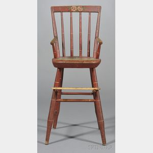 Red-painted Windsor High Chair