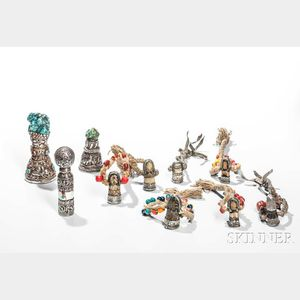 Ten Tribal Silver Repousse Stamps