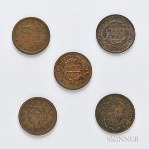 Five Classic and Braided Hair Half Cents