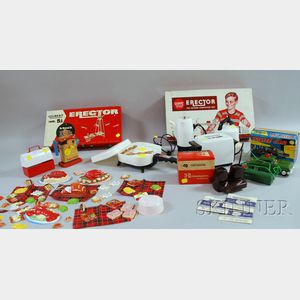 Two Metal Erector Sets with Other Toys