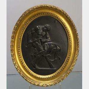 Wedgwood Black Basalt Plaque Depicting Hercules and Cerberus
