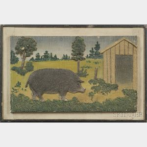 Polychrome Painted Relief Molded Panel with Pig and Barn Motif