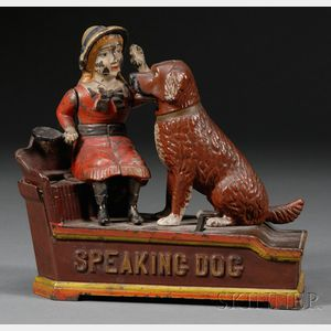 """Speaking Dog"" Cast Iron Mechanical Bank"