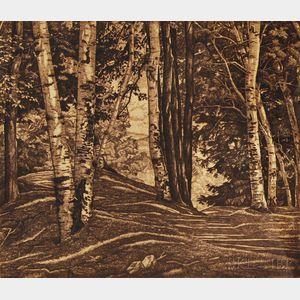 Luigi Lucioni (American/Italian, 1900-1988)      Through the Birches