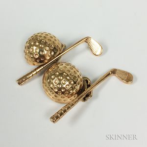 Pair of 14kt Gold Golf-themed Cuff Links