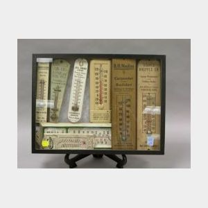 Eight Wooden and Metal Advertising Wall Thermometers.