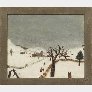 American School, 19th Century    Snowy Day Winter Scene.