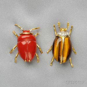 Two 18kt Gold Gem-set Insect Brooches