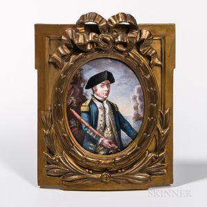 After Johann-Elias Haid (Augsburg, 1739-1809)      Enamel Portrait Miniature of Commander John Paul Jones