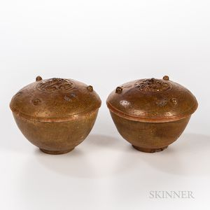 Pair of Straw-glazed Brown Covered Vessels