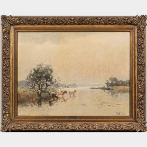 Jan Simon Knikker Sr. (Dutch, 1889-1957)      Cows Watering on a Misty Day