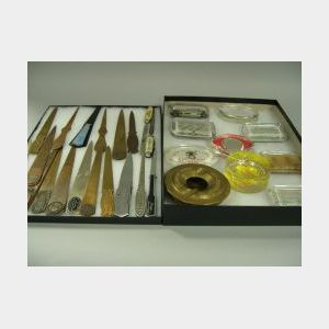 Collection of Ten Advertising and Commemorative Paperweights and Nineteen Bronze and Metal Letter Openers.
