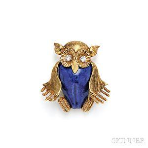 18kt Gold, Enamel, and Diamond Owl Brooch, Emis