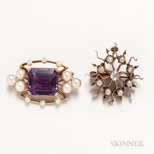 18kt Gold, Amethyst, and Cultured Pearl Brooch and a 14kt Gold, Cultured Pearl, and Diamond Sunburst Brooch
