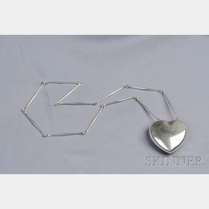 Sterling Silver Puffed Heart Pendant Necklace, George Jensen