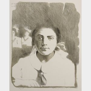 Raphael Soyer (American, 1899-1987) Three Portraits: Standing Figure, The Hair Bow, and ...