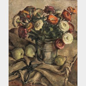 German School, 20th Century      Still Life with Zinnias and Pears