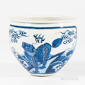 Small Blue and White Jardiniere