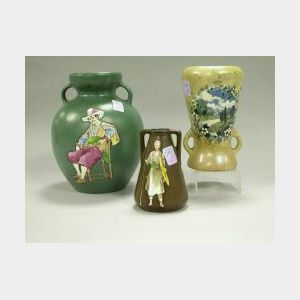 Three Stellmacher Pottery Enamel Decorated Vases.