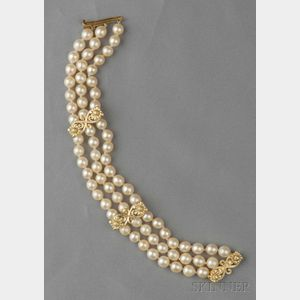 18kt Gold and Cultured Pearl Bracelet, Cynthia Bach