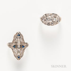 Two White Gold and Diamond Rings