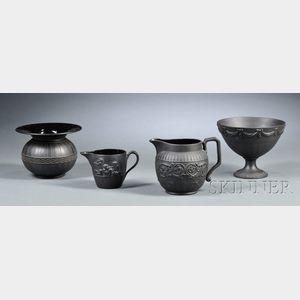 Four Wedgwood Black Basalt Items