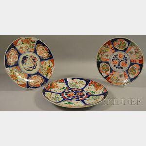 Three Imari-decorated Porcelain Chargers