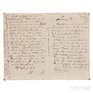 Brahms, Johannes (1833-1897) Autograph Letter Signed, [21 April 1877, Vienna].