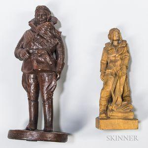 Two WWI Pilot Sculptures