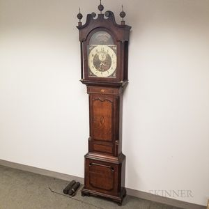 English Inlaid Oak and Mahogany Veneer Tall Case Clock